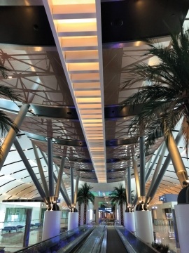 GKD's shimmering metallic fabric adorns the ceilings at Muscat International Airport