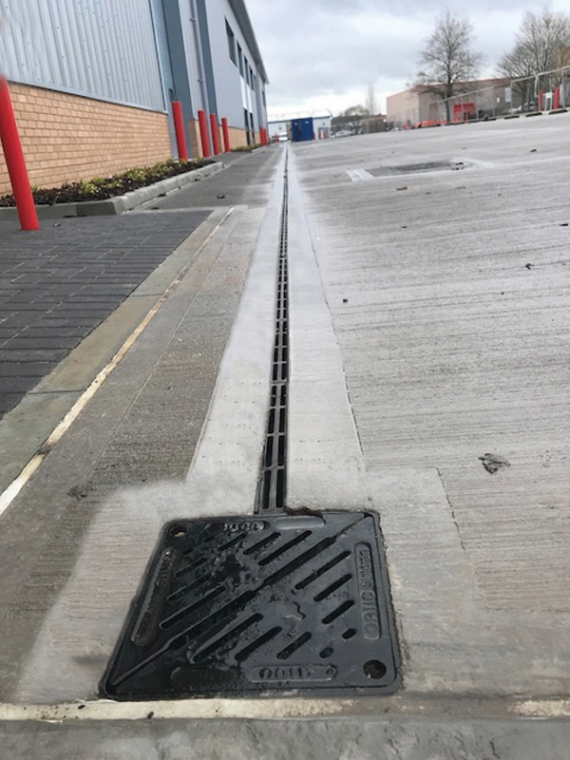 Gatic CastSlot surface drainage specified for 24,000 sq.ft. business park