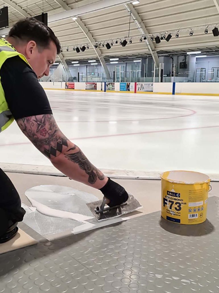 New F. Ball Adhesive Saves Ice Rink Installation
