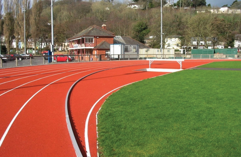 SPORTFIX® components installed at redeveloped UCC Mardyke athletics track Cork City Republic of Ireland