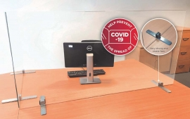 Free-standing COVID-19 Easy Sneeze Guard Office Desk Solution from Glassolutions