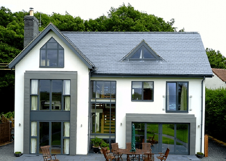 Matching rainwater & roofline system gives new build contemporary finish
